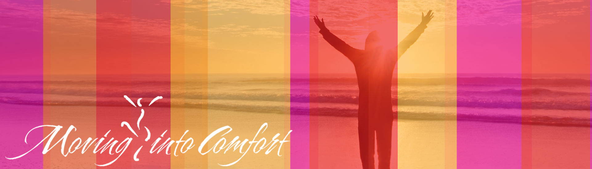 Woman on a beach at sunset raising her arms in joy