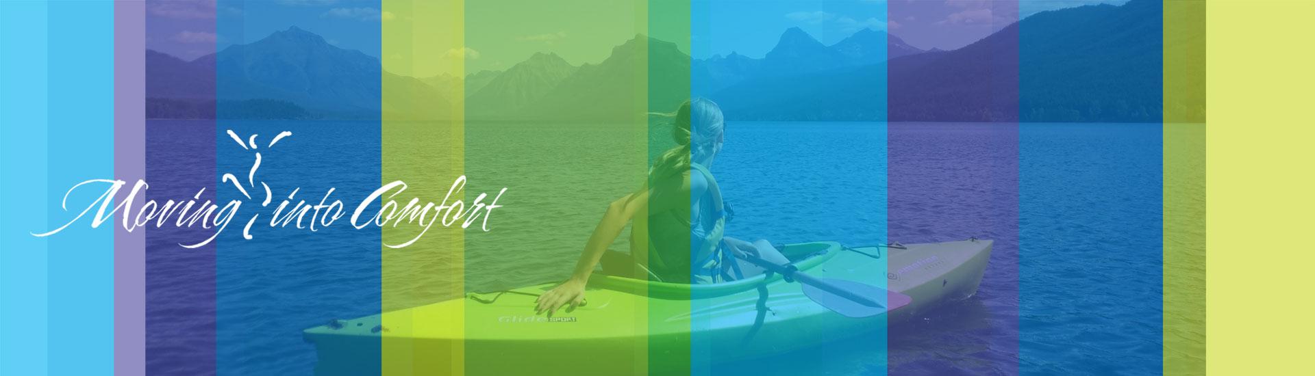 Woman in kayak on mountain lake